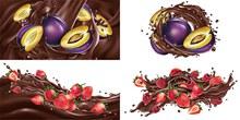 被巧克力酱裹挟着的水果创意图矢量图片