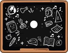 手绘涂鸦黑板矢量素材
