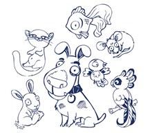 手绘风格的动物矢量图片