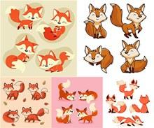 多种姿态的可爱小狐狸主题矢量