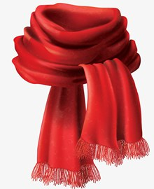手绘风秋天红色围巾矢量图片