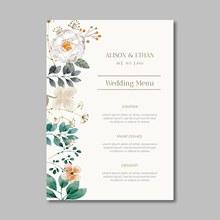 花卉婚礼菜单模板矢量图