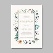 鲜花边框婚礼卡片矢量图下载