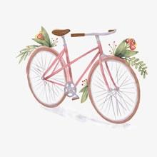 彩绘粉色单车设计矢量图下载
