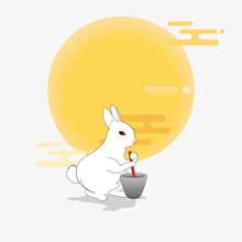 简约扁平中秋玉兔捣药图矢量