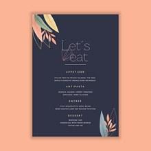 婚礼菜单模板设计矢量素材