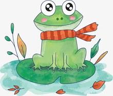秋天手绘卡通青蛙矢量