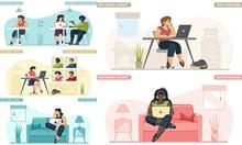 疫情居家在家办公人物创意矢量图片