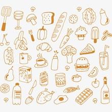 手绘食物背景设计矢量素材
