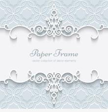白色蕾丝花纹边框图矢量图
