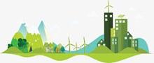 绿色生态城市建设矢量素材