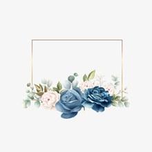 蓝色玫瑰花装饰元素图矢量图