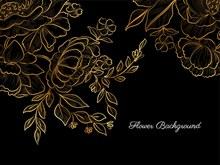 金色手绘花黑色背景矢量素材