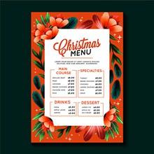 水彩圣诞菜单模板矢量图下载