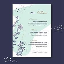鲜花装饰婚礼菜单矢量图