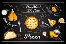 餐厅手绘美食图矢量下载