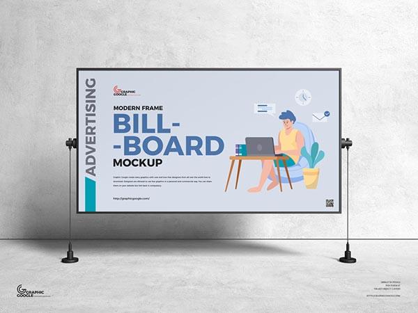 現代框架廣告廣告牌樣機模型