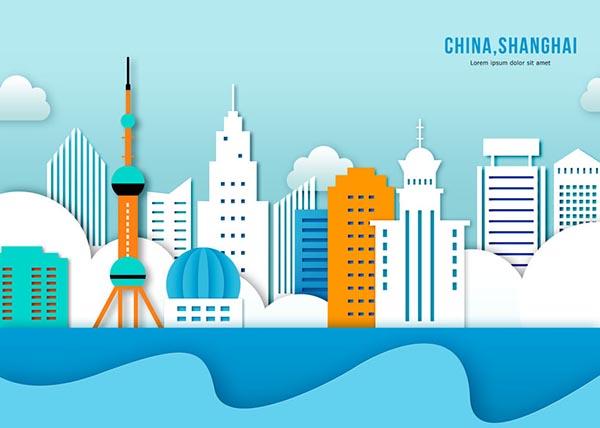 上海剪纸建筑风psd素材