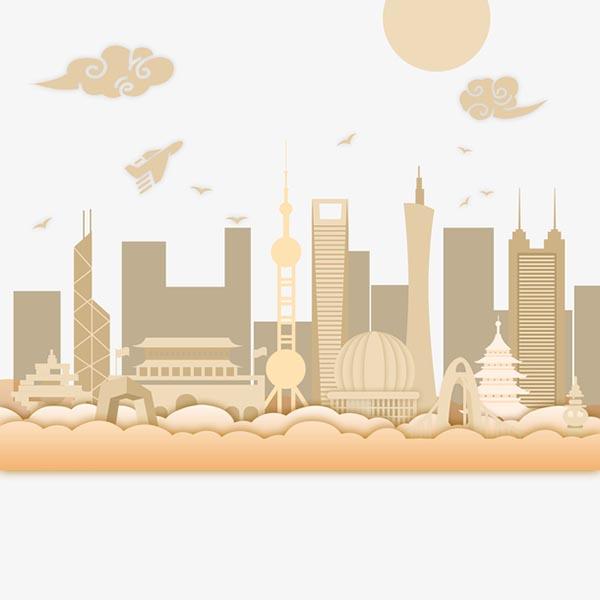 城市地标建筑剪影