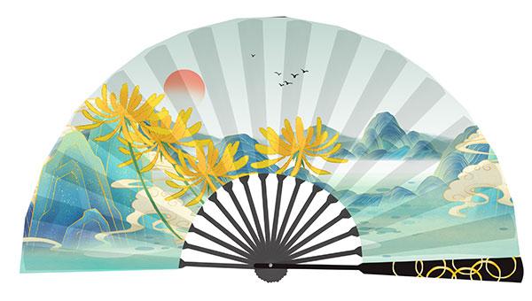 国潮风重阳节扇面