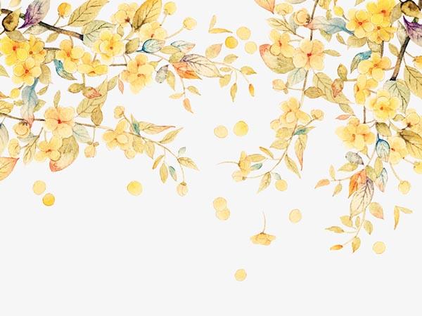 手绘秋天黄色树叶