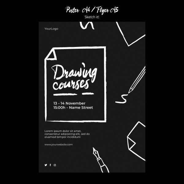 黑色创意草图概念传单模板