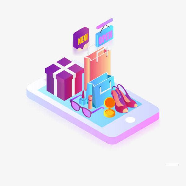 创意手机购物2.5D立体插画