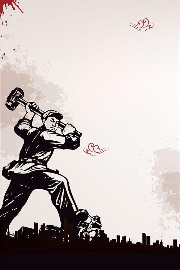 黑白复古五一51劳动节海报背景