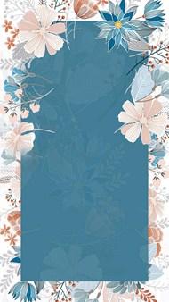 文艺小清新手绘花卉边框蓝色H5背景