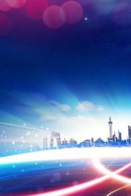 蓝色大气建筑背景