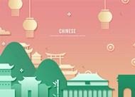 旅游景点艺术风剪纸中国建筑psd素材