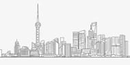 手绘线描城市剪影