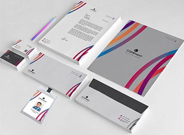 多彩線條企業視覺元素矢量素材