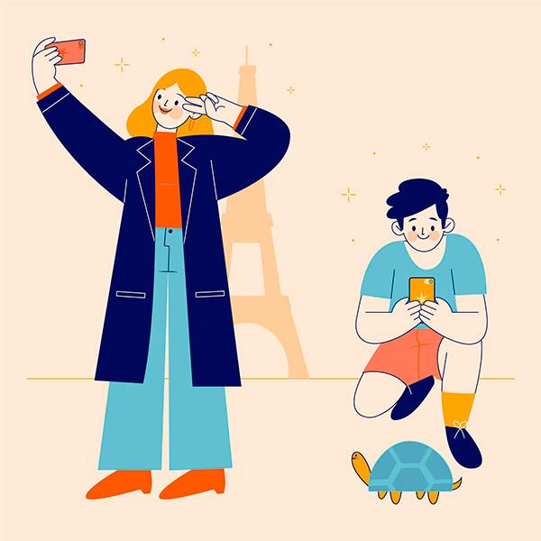 智能手机拍照人物插画矢量图