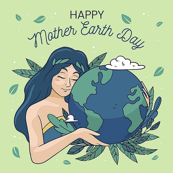 女孩地球日插画矢量图下载