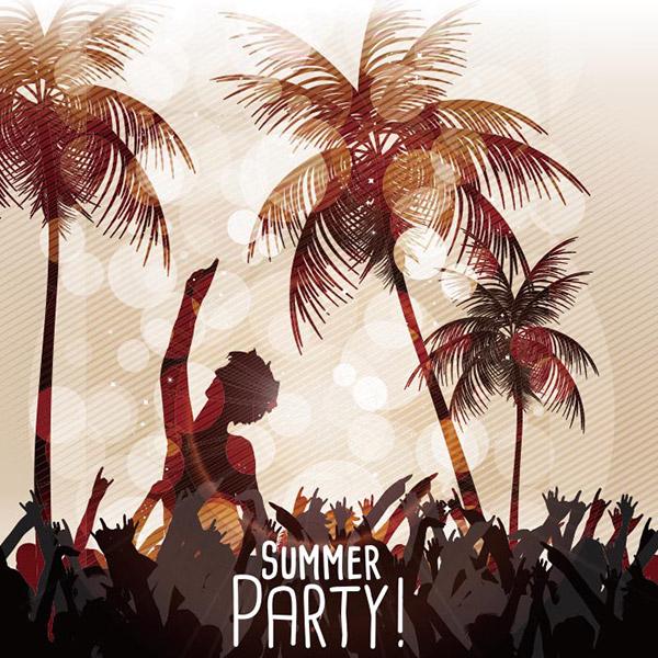 夏日沙滩派对海报矢量素材下载