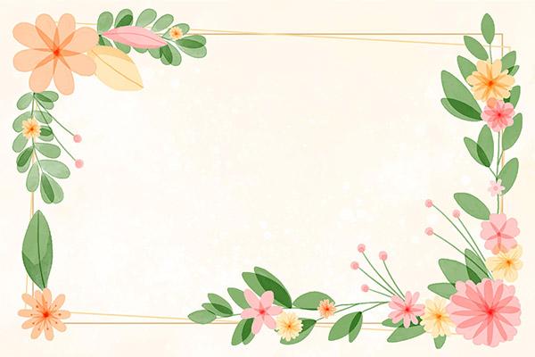 手绘水彩花卉边矢量素材下载