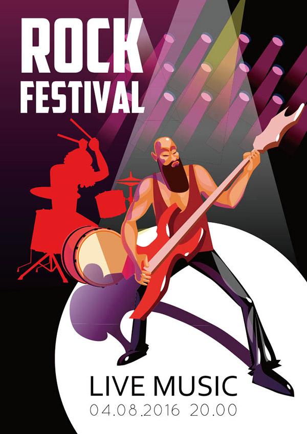 摇滚节卡通海报矢量素材