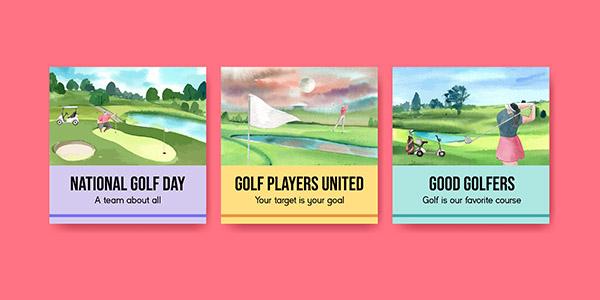 高尔夫爱好者横幅矢量下载