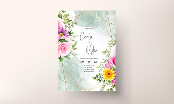绽放花朵水彩婚礼请柬矢量图下载