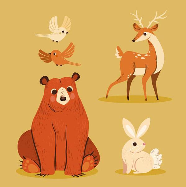 手绘秋季森林动物矢量图片