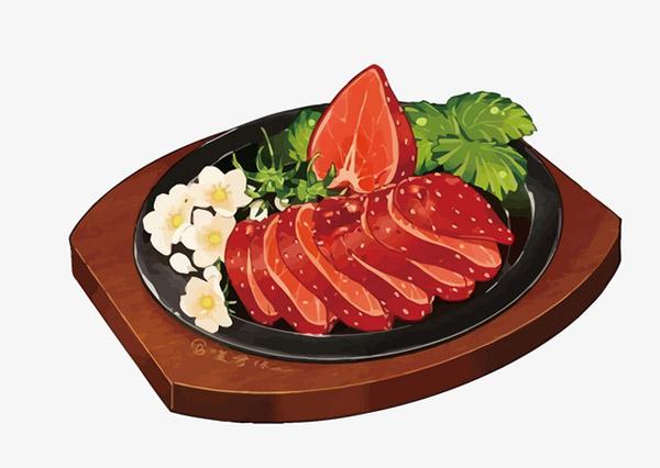 卡通美食牛排矢量图片