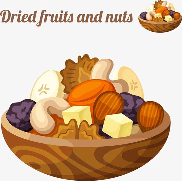 水果干和坚果矢量模板