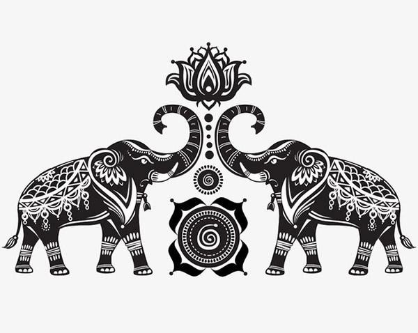 大象与荷花矢量图下载