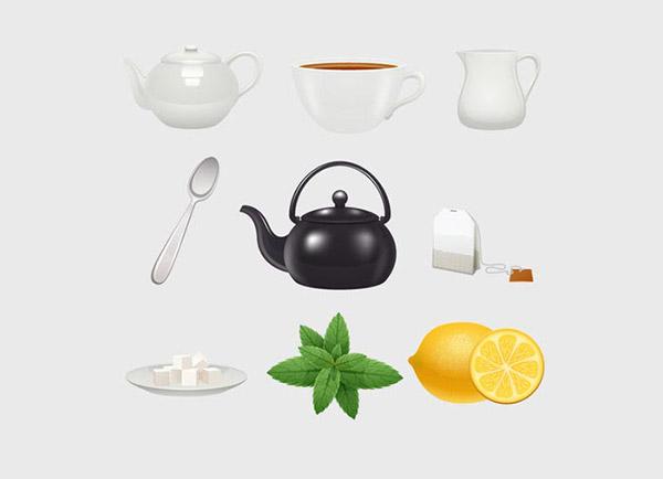 英国传统茶点元素矢量模板