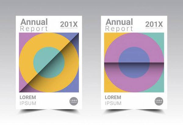 年度报告模板矢量图片