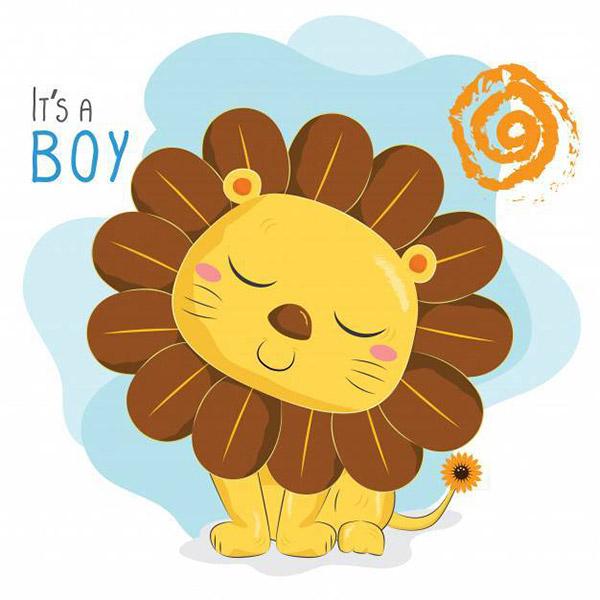卡通向日葵狮子矢量图下载