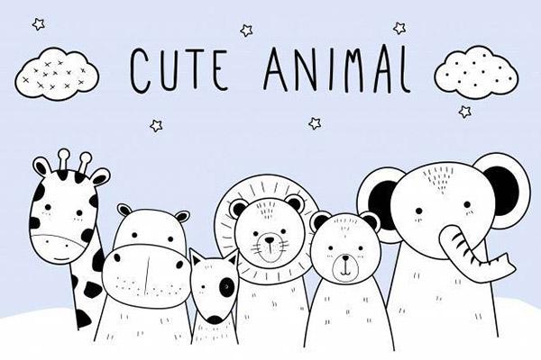 线条动物卡通涂鸦矢量素材