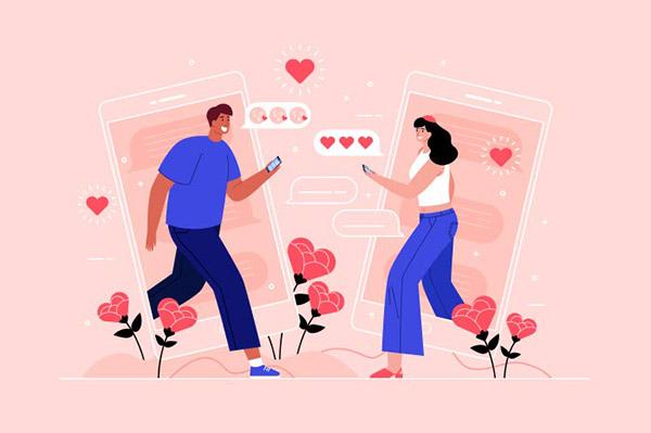 情侣插画矢量模板