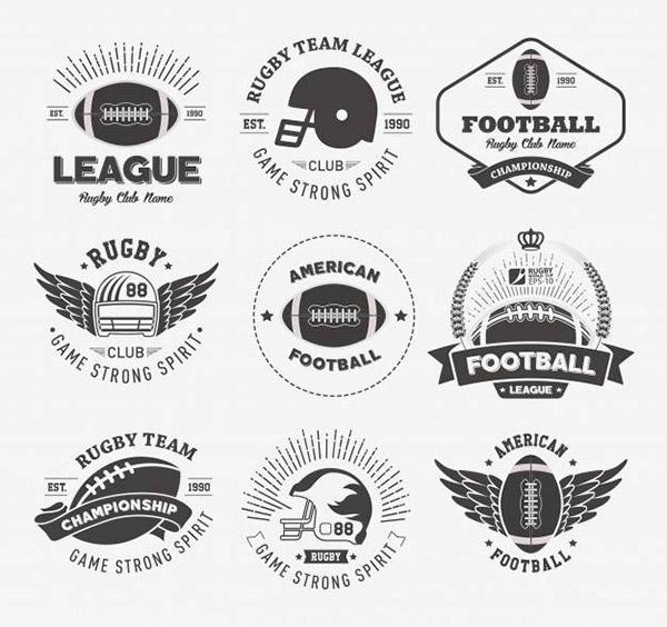 橄榄球徽章矢量模板
